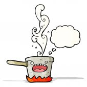 Cartoon hot kitchen pan — Stock Vector