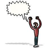 Cartoon stick man with speech bubble — Stock Vector