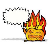 Spooky halloween pumpkin cartoon — Stock Vector