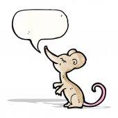 Cartoon mouse with speech bubble — Stock Vector