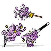 Cartoon magic wands casting spells — Stock Vector
