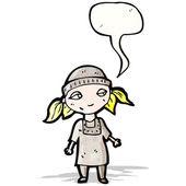 Cartoon poor orphan girl with speech bubble — Stock Vector