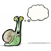 Cartoon snail with thought balloon — Stock Vector