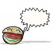 Talking burger cartoon — Stock Vector