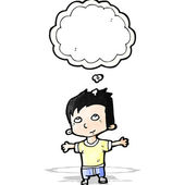 Happy cartoon boy imagining — Stock Vector