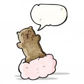 Bear on cloud cartoon — Stock Vector