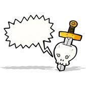 Sword and skull cartoon — Stock Vector