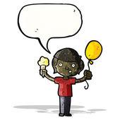 Cartoon boy with ice cream and balloon — Stock Vector