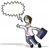 Cartoon rushing businessman — Stock Vector