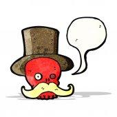 Cartoon skull in top hat — Stock Vector