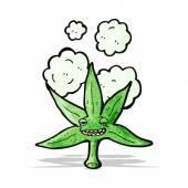 Лист марихуаны мультипликационный персонаж — Cтоковый вектор