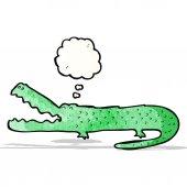 Cartoon krokodil med tankebubbla — Stockvektor