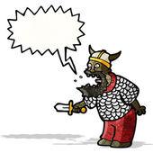 Karikatür bağırarak Ortaçağ savaşçı — Stok Vektör