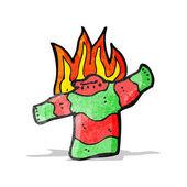 Burning christmas jumper cartoon — Stock Vector