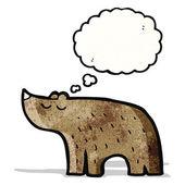 Cartoon beer met gedachte bubble — Stockvector