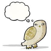 Kreslený moudrá sova s myšlenkou bublina — Stock vektor