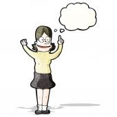 Cartoon clever woman — Stock Vector