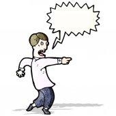 Cartoon man pointing accusation — Stock Vector