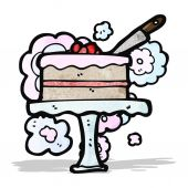 Cartoon cake on cakestand — Stock Vector