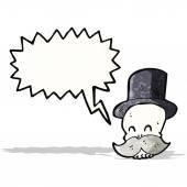 Cartoon skull with mustache — Stock Vector