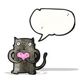 Caricature de chat noir avec coeur d'amour — Vecteur