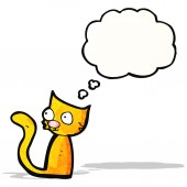 Cartoon cat with thought bubble — Stock Vector
