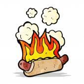 Cartoon flaming hotdog — Stock Vector