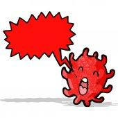 Cartoon microscopic cell with speech bubble — Stock Vector