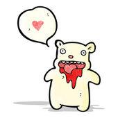 Gross bloody polar bear cartoon — Stock Vector