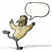 Cartoon man running to explain — Stock Vector