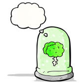 Cartoon brain in jar with thought bubble — ストックベクタ