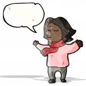 Tecknade kvinnan bär scarf — Stockvektor