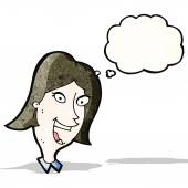 Cartoon crazy happy woman — Stock Vector