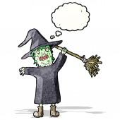 Cartoon witch — Vetor de Stock