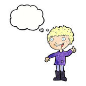 Cartoon excited boy with thought bubble — 图库矢量图片