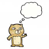 Cartoon waving teddy bear with thought bubble — Vettoriale Stock