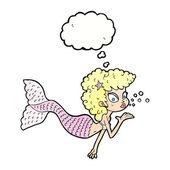 Cartoon mermaid blowing kiss — Stockvector