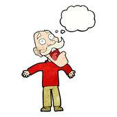 Cartoon annoyed balding man — Stock Vector