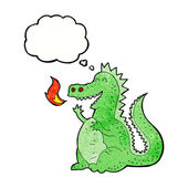 Cartoon fire breathing dragon with thought bubble — Stock Vector