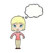 Cartoon woman shrugging shoulders — Stock Vector