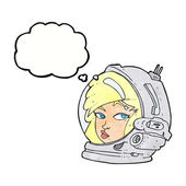 Cartoon female astronaut with thought bubble — Stock Vector