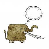 Cartoon woolly mammoth with thought bubble — Wektor stockowy
