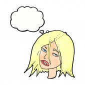 Annoyed woman with thought bubble — 图库矢量图片