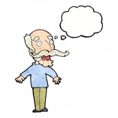 Cartoon old man gasping in surprise with thought bubble — Stock Vector