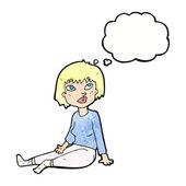 卡通女人坐在地板上 — 图库矢量图片