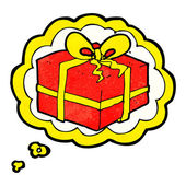 Cartoon christmas present with thought bubble — 图库矢量图片