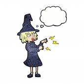 Cartoon witch casting spell with thought bubble — Stock Vector