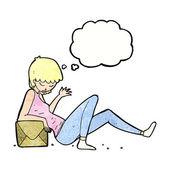 Cartoon woman leaning on box — 图库矢量图片