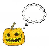 Cartoon spooky pumpkin with thought bubble — Stock Vector