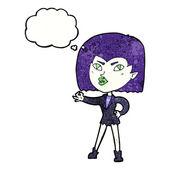 мультипликационная девочка вампира с пузырем мысли — Cтоковый вектор